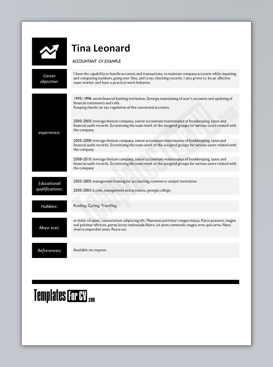Accountant CV Template U2013 Tina Leonard  Accountant Resume Template