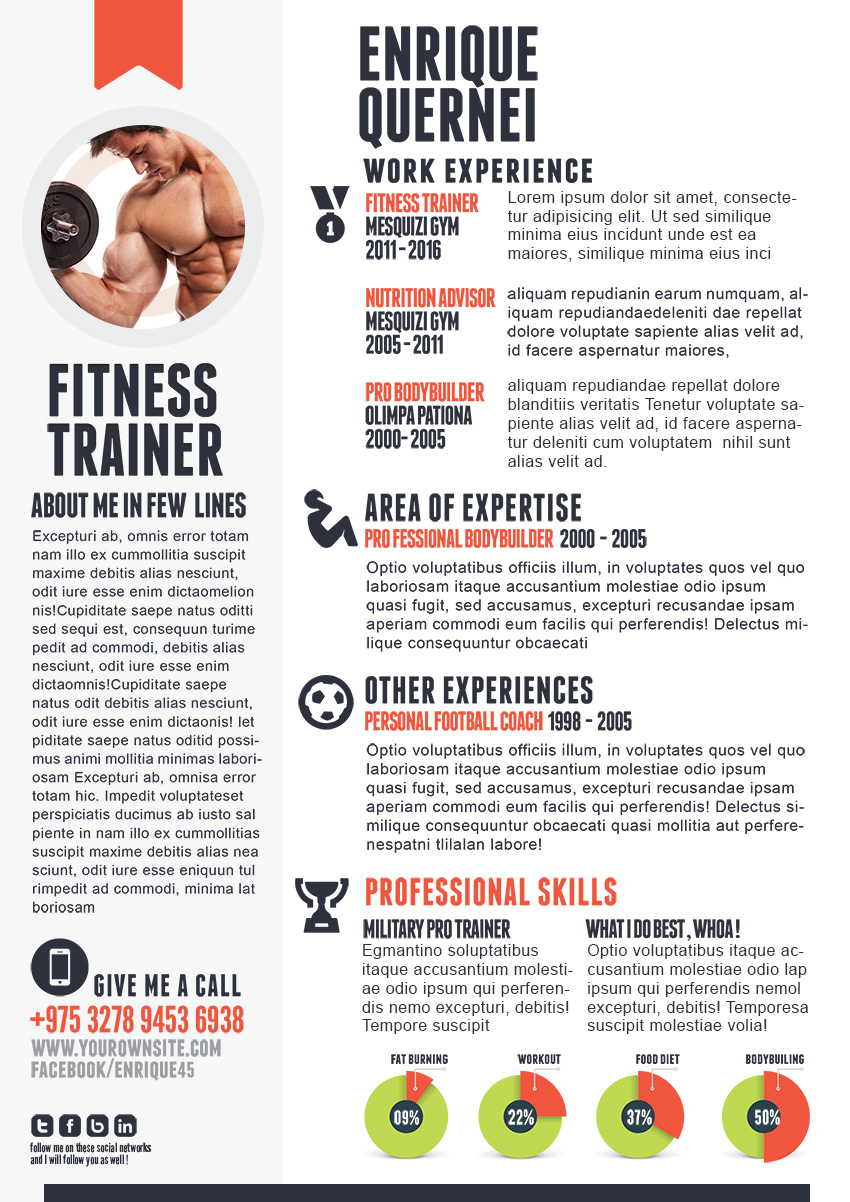 Fitness Trainer Resume Templates for CV #0: Fitness Trainer Resume