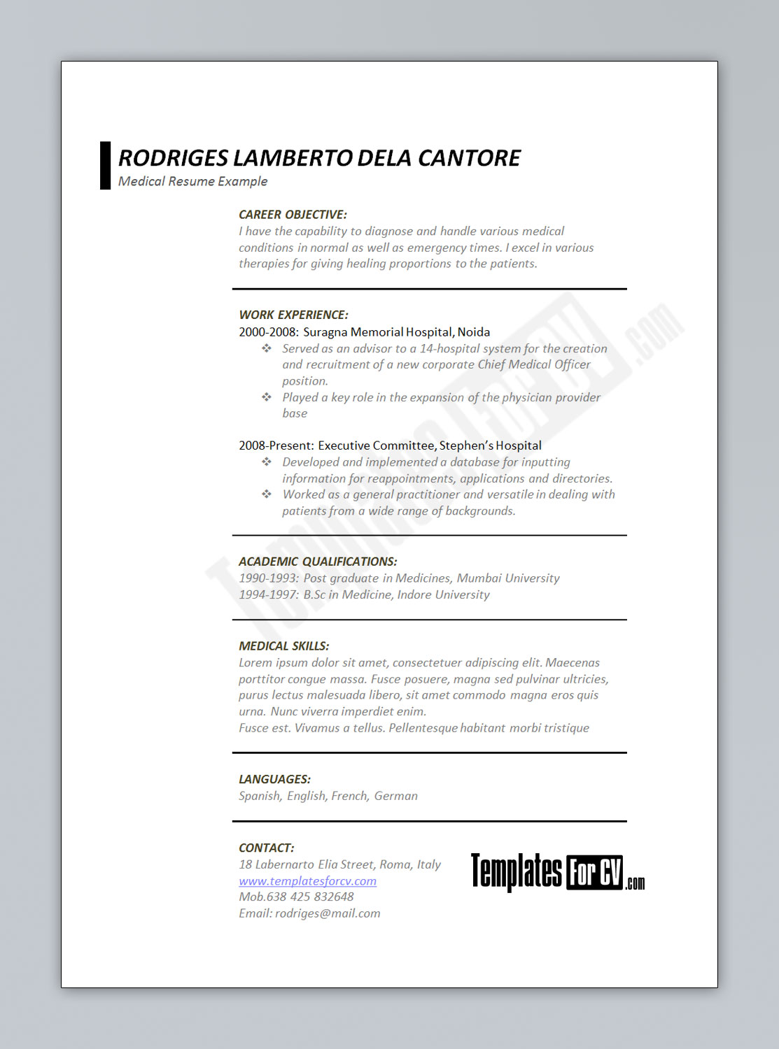 Templates For CV  Medical Resume Template