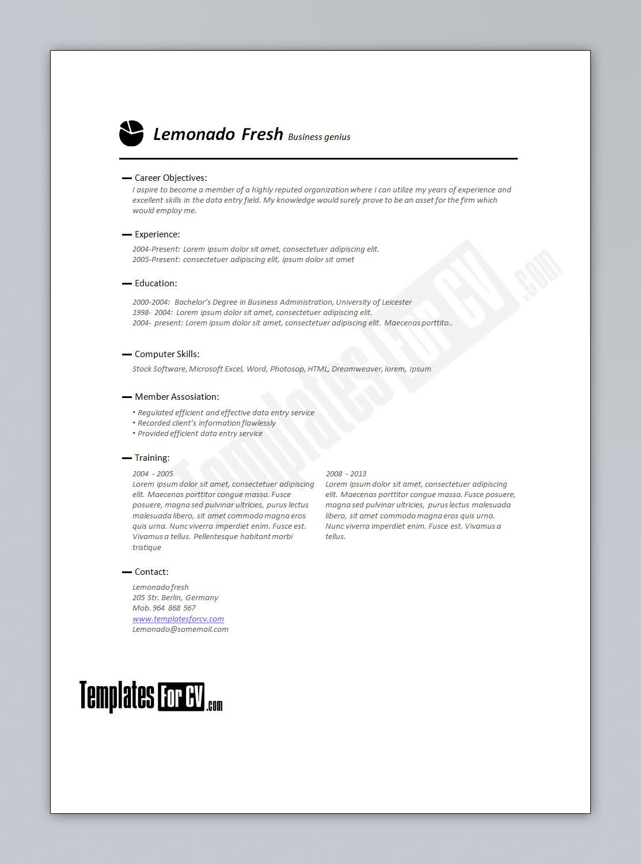finance cv template business resume template